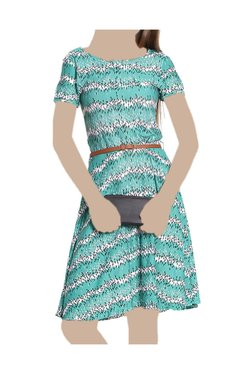 United Colors Of Benetton Green Printed Knee Length Dress