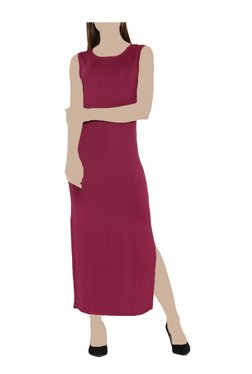 United Colors Of Benetton Magenta Round Neck Maxi Dress