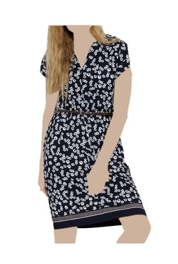 United Colors Of Benetton Navy Floral Print Above Knee Dress