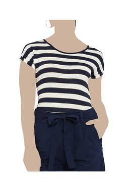 United Colors Of Benetton Off White & Navy Striped Top