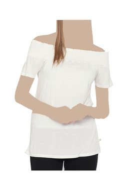 United Colors Of Benetton Off White Off Shoulder Top