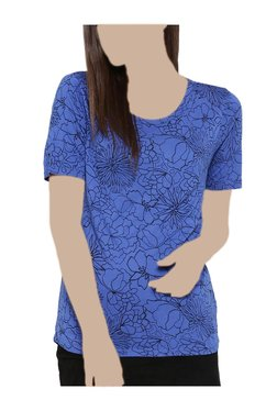 United Colors Of Benetton Blue Floral Print Top