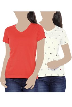 United Colors Of Benetton Red & White Printed Top (Pack Of 2)