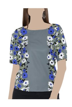 United Colors Of Benetton Grey Floral Print Top