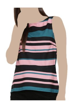 United Colors Of Benetton Black & Pink Striped Top