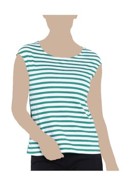 United Colors Of Benetton White & Green Striped Top