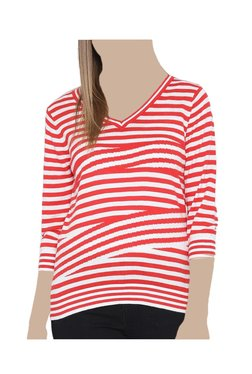 United Colors Of Benetton Red & White Striped Top - Mp000000003779424