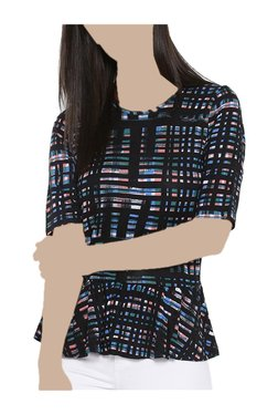 United Colors Of Benetton Black & Blue Checks Top
