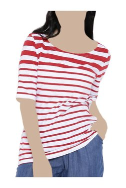 United Colors Of Benetton White & Red Striped Top