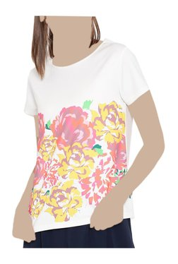 United Colors Of Benetton White Floral Print Top - Mp000000003779541