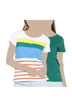 United Colors Of Benetton White & Green Striped Top (Pack Of 2)