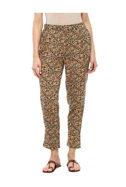 Imara Beige Cotton Floral Print Cigarette Pants