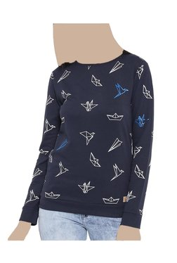 United Colors Of Benetton Navy Printed Sweatshirt