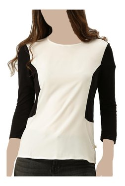United Colors Of Benetton Black & White Round Neck T-Shirt
