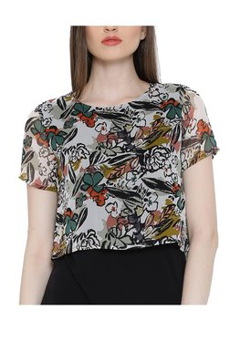 United Colors Of Benetton Off White & Black Printed Top