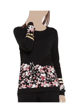 United Colors Of Benetton Black Floral Print Top