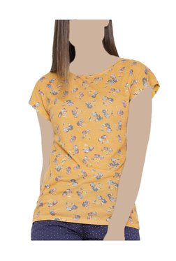 United Colors Of Benetton Mustard Floral Print Top