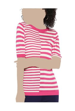 United Colors Of Benetton Pink & White Striped Top