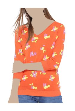 United Colors Of Benetton Orange Floral Print Top