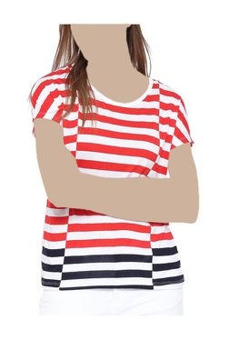 United Colors Of Benetton Red & White Striped Top