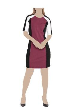 United Colors Of Benetton Burgundy & Black Above Knee Dress