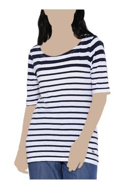United Colors Of Benetton White & Navy Striped Top