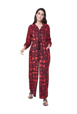 1e6ded9e4c2 Global Desi Red Printed Jumpsuit