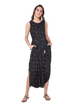 6c529c12accd Global Desi Black Printed Dhoti Jumpsuit