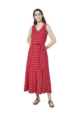 Global Desi Red Checks Midi Fit & Flare Dress