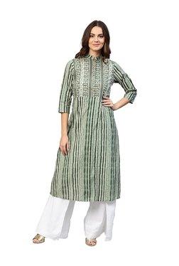 Jaipur Kurti Green Cotton Printed Kurti