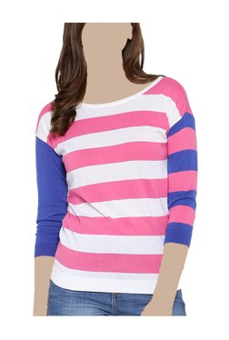 United Colors Of Benetton White & Pink Striped Top