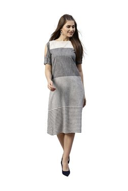 Jaipur Kurti Grey Cotton Striped A-Line Dress