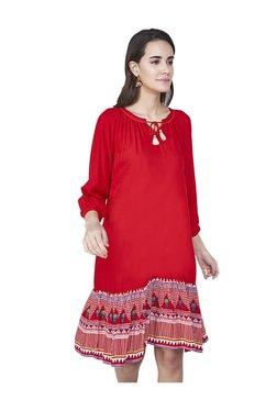 Global Desi Red Geometric Print Knee Length A-Line Dress