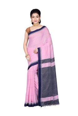 Bengal Handloom Pink Cotton Chequered Saree With Blouse