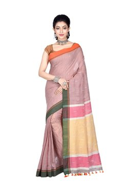 Bengal Handloom Brown Cotton Saree With Blouse