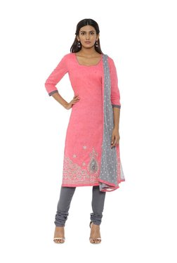 Soch Pink & Grey Cotton Embroidered Dress Material