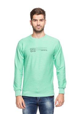 Status Quo Mint Green Round Neck Slim Fit Sweatshirt