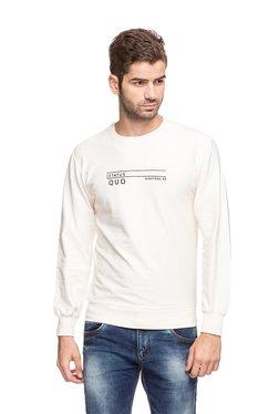 Status Quo Off-White Round Neck Slim Fit Sweatshirt