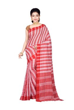 Bengal Handloom Red Cotton Chequered Saree With Blouse
