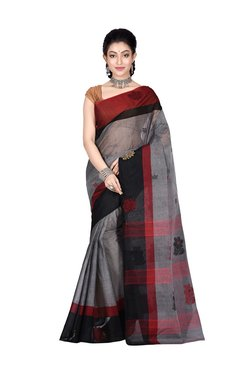 Bengal Handloom Grey Cotton Floral Print Saree With Blouse