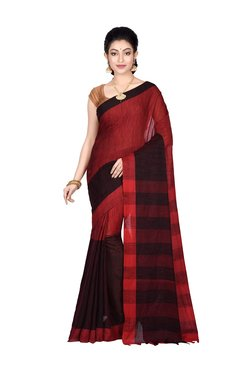 Bengal Handloom Red Cotton Saree With Blouse - Mp000000003784617
