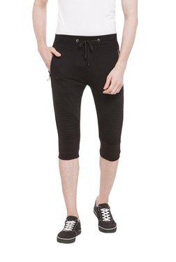 Status Quo Black Cotton Mid Rise 3/4th Shorts