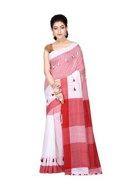 Bengal Handloom Red Cotton Saree With Blouse