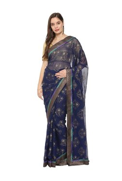 Soch Navy Printed Saree With Blouse