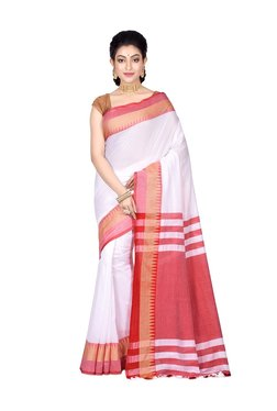 Bengal Handloom White & Red Cotton Saree With Blouse