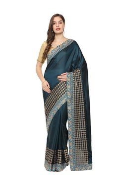 e79f0ae5ae7c0 Soch Teal Embroidered Saree With Blouse