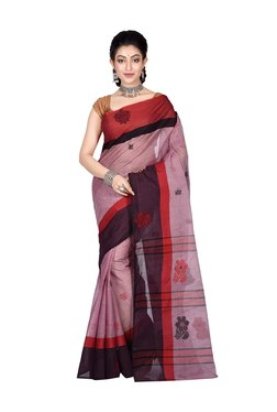 Bengal Handloom Pink Cotton Floral Print Saree With Blouse