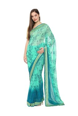 Soch Mint Green Floral Print Saree With Blouse