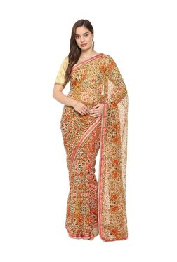 Soch Beige Floral Print Saree With Blouse
