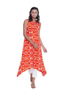 9rasa Orange & White Cotton Asymmetric Kurta With Pants
